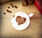 Heart Shape Cappuccino Cup with Whipped Cream Stock Images