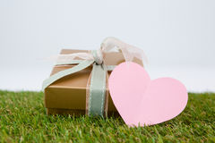 Heart shape card with gift box Royalty Free Stock Image