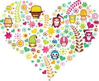 Heart shape with cartoon Stock Photos