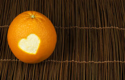 Heart Shape Carved In Orange Peel Royalty Free Stock Images