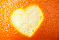 Heart shape carved in orange peel Royalty Free Stock Image