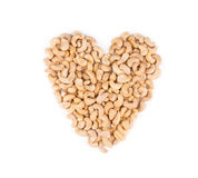Heart shape from cashew. Stock Photo