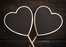 Heart shape chalkboards Royalty Free Stock Photography
