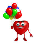 Heart Shape character with balloons Stock Photos
