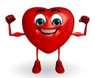 Heart Shape character with bodybuilding pose Royalty Free Stock Image