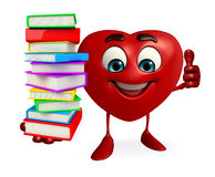 Heart Shape character with books pile Stock Photos