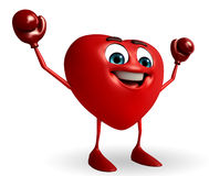 Heart Shape character with boxing gloves Royalty Free Stock Photo