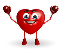 Heart Shape character with boxing gloves Stock Photo