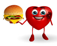 Heart Shape character with burger Stock Photos