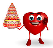 Heart Shape character with cake Royalty Free Stock Images