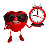 Heart Shape character with clock Royalty Free Stock Images