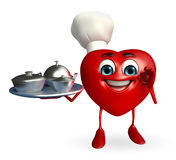 Heart Shape character with dish pan Royalty Free Stock Images