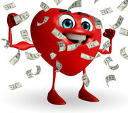 Heart Shape character with dollers Stock Photo
