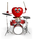 Heart Shape character with drumset Royalty Free Stock Photos