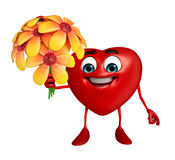 Heart Shape character with  flower Royalty Free Stock Images