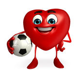 Heart Shape character with foot ball Stock Photos
