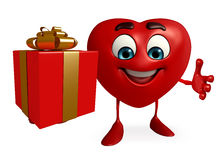 Heart Shape character with gift box Royalty Free Stock Images