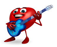 Heart Shape character with guitar Royalty Free Stock Image