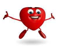 Heart Shape character with happy pose Royalty Free Stock Photography