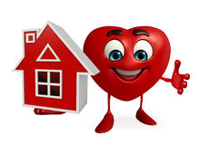Heart Shape character with home Royalty Free Stock Image