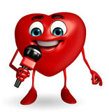 Heart Shape character with mike Royalty Free Stock Photo