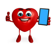 Heart Shape character with mobile Royalty Free Stock Photo