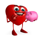 Heart Shape character with piggy bank Royalty Free Stock Image