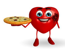Heart Shape character with pizza Royalty Free Stock Image