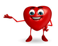 Heart Shape character with is presenting Royalty Free Stock Photography