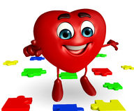 Heart Shape character with puzzel Stock Photos