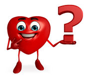 Heart Shape character with question mark Stock Photos