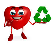 Heart Shape character with recycle sign Stock Image