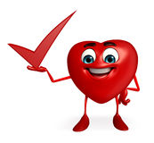 Heart Shape character with right sign Stock Image