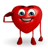Heart Shape character with salute pose Stock Photos