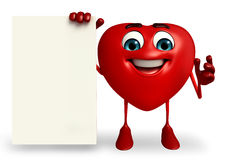 Heart Shape character with sign Stock Photos