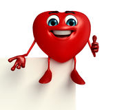 Heart Shape character with sign Royalty Free Stock Photos