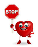 Heart Shape character with stop sign Stock Photography