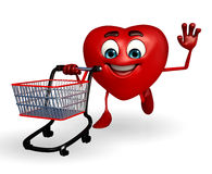 Heart Shape character with trolley Stock Photos