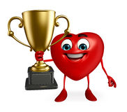 Heart Shape character with trophy Royalty Free Stock Images