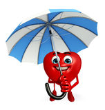 Heart Shape character with umbrella Stock Photography