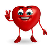 Heart Shape character with victory sign Royalty Free Stock Images