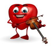 Heart Shape character with violin Stock Photography