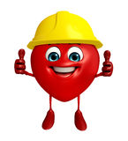 Heart Shape character with worker hat Royalty Free Stock Images