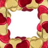 Heart shape of chocolate border. Heart shape of chocolate arrange as a border Royalty Free Stock Photos