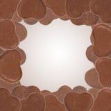 Heart shape of chocolate border. Heart shape of chocolate arrange as a border Royalty Free Stock Image
