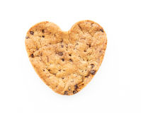 Heart shape chocolate chip cookie isolated Royalty Free Stock Photography