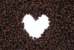 Heart shape of chocolate chips Royalty Free Stock Photo