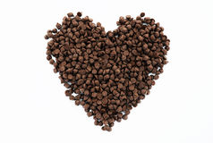 Heart shape of chocolate chips Royalty Free Stock Photography