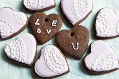 Heart shape chocolate cookies Stock Images