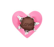 Heart shape chocolate with foil wrapper Stock Image